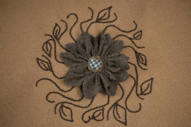 Woolflower Detail on Bag Front