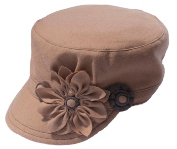 Beige Cadet Style Hat with Beige and Green Flowers