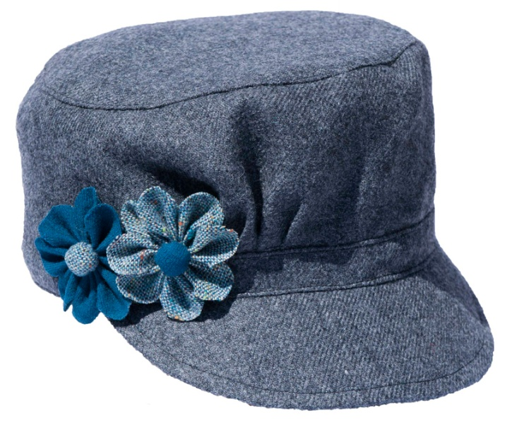 Blue Cadet Style Hat with Blue Flowers