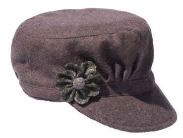 Brown Cadet Style Hat with Green Flower