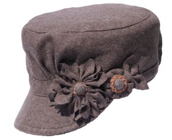 Brown Cadet Style Hat with Brown Flowers