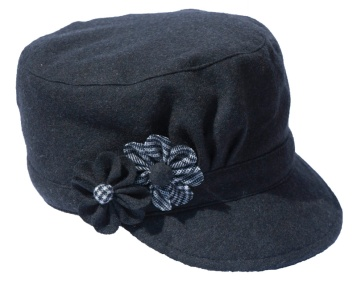 Grey Cadet Style Hat with White and Grey Flowers