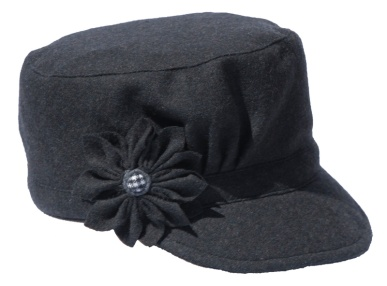 Grey Cadet Style Hat with Grey Flower